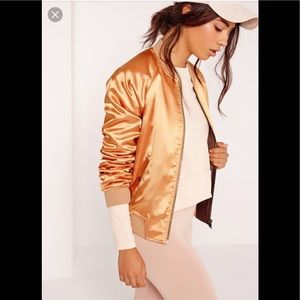 Premium satin bomber jacket vibrant champagne